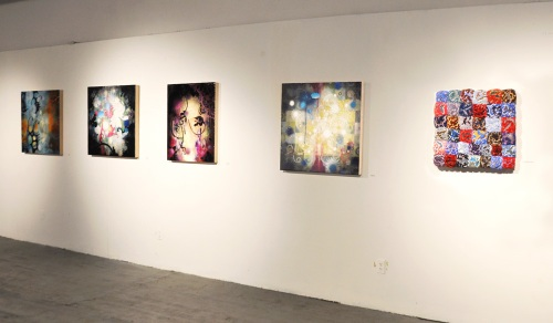 Four of my paintings with Vadim Katznelson's Don't be Blue on the right